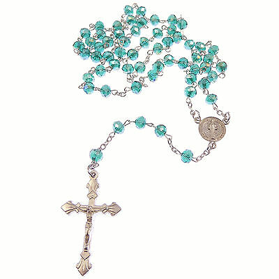 Round clear iridescent glass rosary beads 45cm gold chain center crucifix 6mm