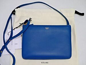Image is loading NEW-CELINE-Trio-blue-leather-small-crossbody-bag- daecfa0ab4