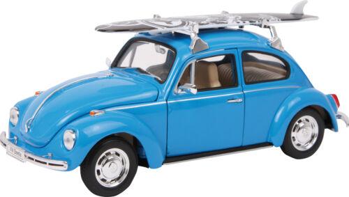 17 x 6 x 7,5 cm Metallmodel Volkswagen Modellauto VW Käfer Surfbrett ca