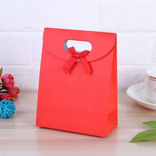 Pop 5PC Paper Gift Bag Bowknot Decor Solid Pouch Birthday Present Storage Holder