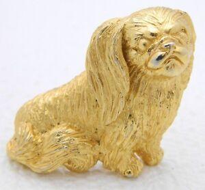 VTG-CROWN-TRIFARI-Gold-Tone-Pekingese-Dog-Pin-Brooch