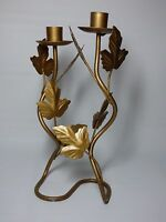 A Teleflora Gift Double Candlestick 10-1/3 Tall W/ Leaves Golden Brown Speckled