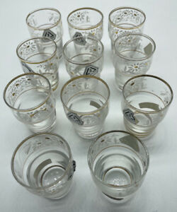 Lot of 11 Hand Blown Hand Painted Stackable Shot Glasses Daisy Pattern Belgium