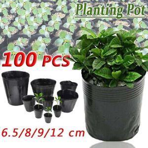 100 Pack Nursery Pots Outdoor Vegetable Flower Plant Plastic Pot Garden Us