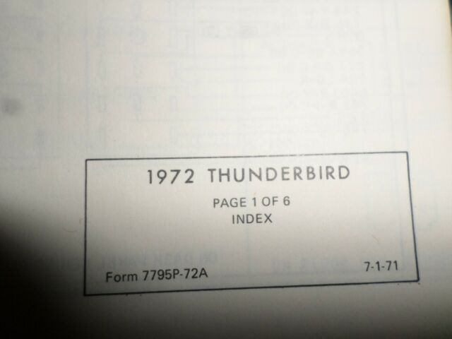 Vintage 1972 Ford Thunderbird Wiring And Vacuum Diagrams