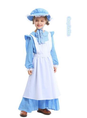 H4-3 Girls Victorian Maid Retro Pilgrim Frontier Colonial Olden Days Costume