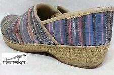 Dansko Vegan Canvas Jute Stripe Espadrille Clog Professional Nursing Shoe 39 8.5
