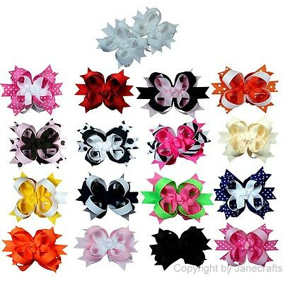 "3"" Boutique Stacked Toddler Spike Hair Bows 17pcs Mixed in 17 Color"