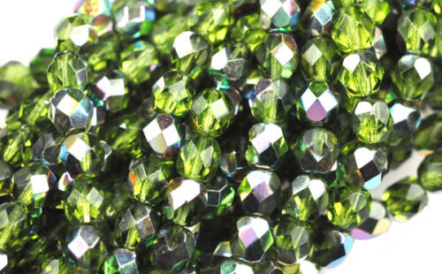 50 OLIVINE VITRAL FACETED ROUND GLASS BEADS 6MM