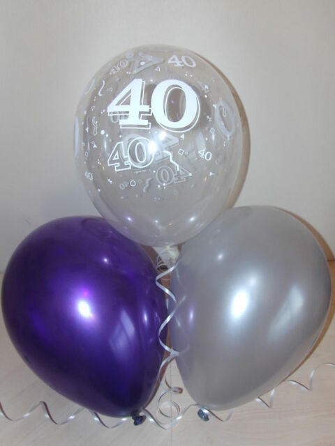 Purple Silver Clear Printed 40th BIRTHDAY BALLOONS Party Decorations X 15 Helium