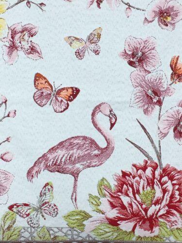 Pillow Cover Jacquard  Woven Flamingo Garden Ecru//Pink  Made In France 18X18