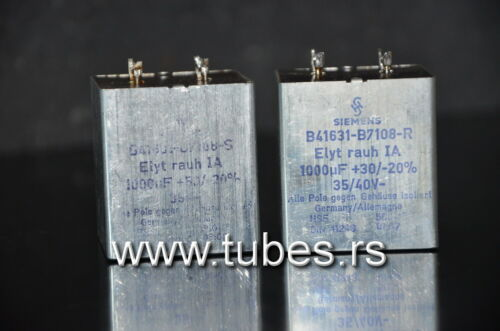 West Germany Two vintage Siemens electrolytic capacitors 1000uF 35V Klangfilm