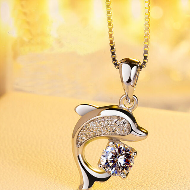 Fashion Silver Crystal Dolphin Pendants Necklace Rhinestone Jewelry For Women f