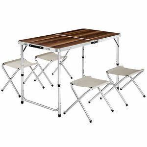 Eensemble table pliante valise avec 4 tabourets camping for Table camping valise