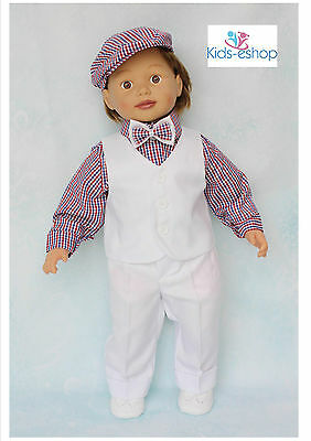 Baby Boy Christening Smart Suit Hat Outfit Waistcoat Long Sleeve Bodyshirt White