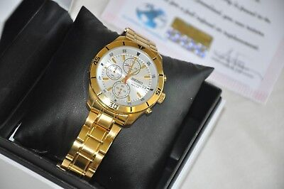 Armband- & Taschenuhren Uhren & Schmuck 24k Gold Plated Seiko Gents Chronograph Date Display Watch Gift Scnp Sks403p1 ZuverläSsige Leistung