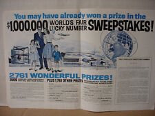 1964 World's Fair $100,000 Sweepstakes Double Page Vintage Print Ad 10420
