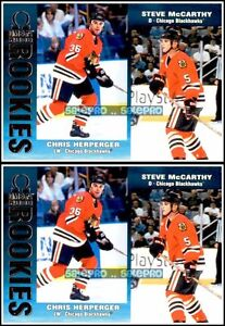 2x-PACIFIC-OMEGA-1999-STEVE-McCARTHY-CHRIS-HERPERGER-BLACKHAWKS-59-ROOKIE-LOT