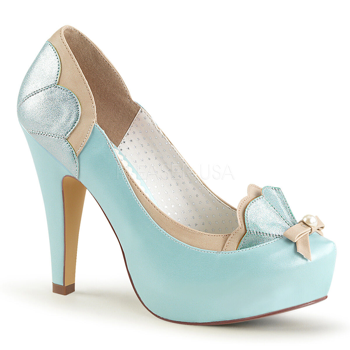 PINUP 4 1 2  Heel Retro Baby bluee Two Tone Scalloped Pumps Women shoes w  Bow