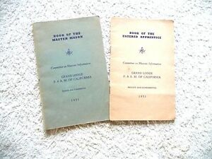 lot-of-2-booklets-FREEMASONRY-FREE-MASONS-GRAND-LODGE-OF-CAL-APPRENTICE-MASTER
