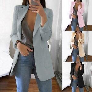 Nouvelle-Femmes-Revers-Blazer-Manteaux-Formelle-Costume-Couleur-Unie-Cardigan