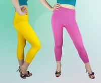 Damen Leggings Capri Weiß Sommer  Rosa Gelb  S M L XL NEU :