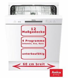 Amica Geschirrspüler 60cm unterbaufähig Spülmaschine Weiß 12 Maßgedecke