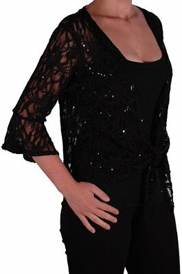 Womens Plus Size Mesh Lace Casual 3/4 Sleeve Tie Shrug Bolero Cardigan Top