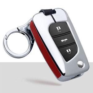 Zinc Alloy Car Key Fob Case Cover Chain For Toyota Corolla RAV4 Camry Highlander