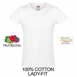 FRUIT OF THE LOOM YELLOW WOMENS FIT T-SHIRT 100/% COTTON BLANK PLAIN TEE TOP