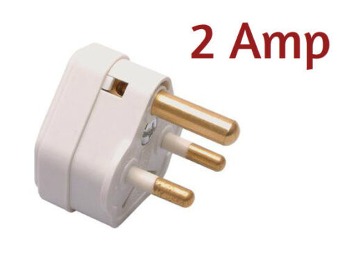 2 Amp 3 Pin Plug With Round Pins In White Plastic Ideal For Table Lamps 2A