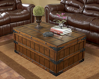 RUSTIC - COCKTAIL COFFEE TABLE CASUAL STYLE OCCASIONAL RECTANGULAR WITH STORAGE