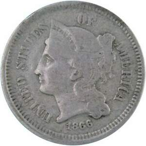 1866 Three Cent Piece F Fine Nickel 3c US Type Coin Collectible