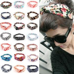 Mujer-Elastico-Diadema-Turbante-Floral-Anudada-Banda-Cabello-Cinta-Yoga-Headband