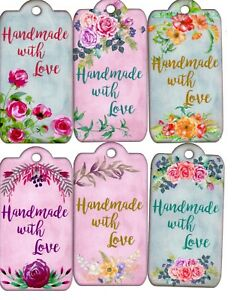 12-LARGE-Handmade-tags-toppers-Handmade-with-Love-floral-vintage-10cm-x-5cm