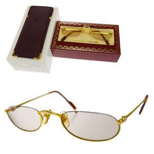 d4bc0b94d08 Auth Must de Cartier Trinity Glasses Eye Wear Plastic Metal Gold ...