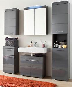 Bad Möbel Set Hochglanz grau Badezimmer komplett Einrichtung 5-tlg ...
