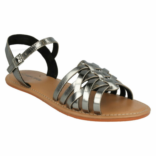 LADIES F0928 OPEN TOE BUCKLE ANKLE STRAP FLAT SUMMER SANDALS LEATHER COLLECTION