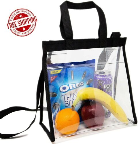 Clear Lunch Bag,Stadium Approved Clear Bag Adjustable Cross-Body Strap Clear Bag