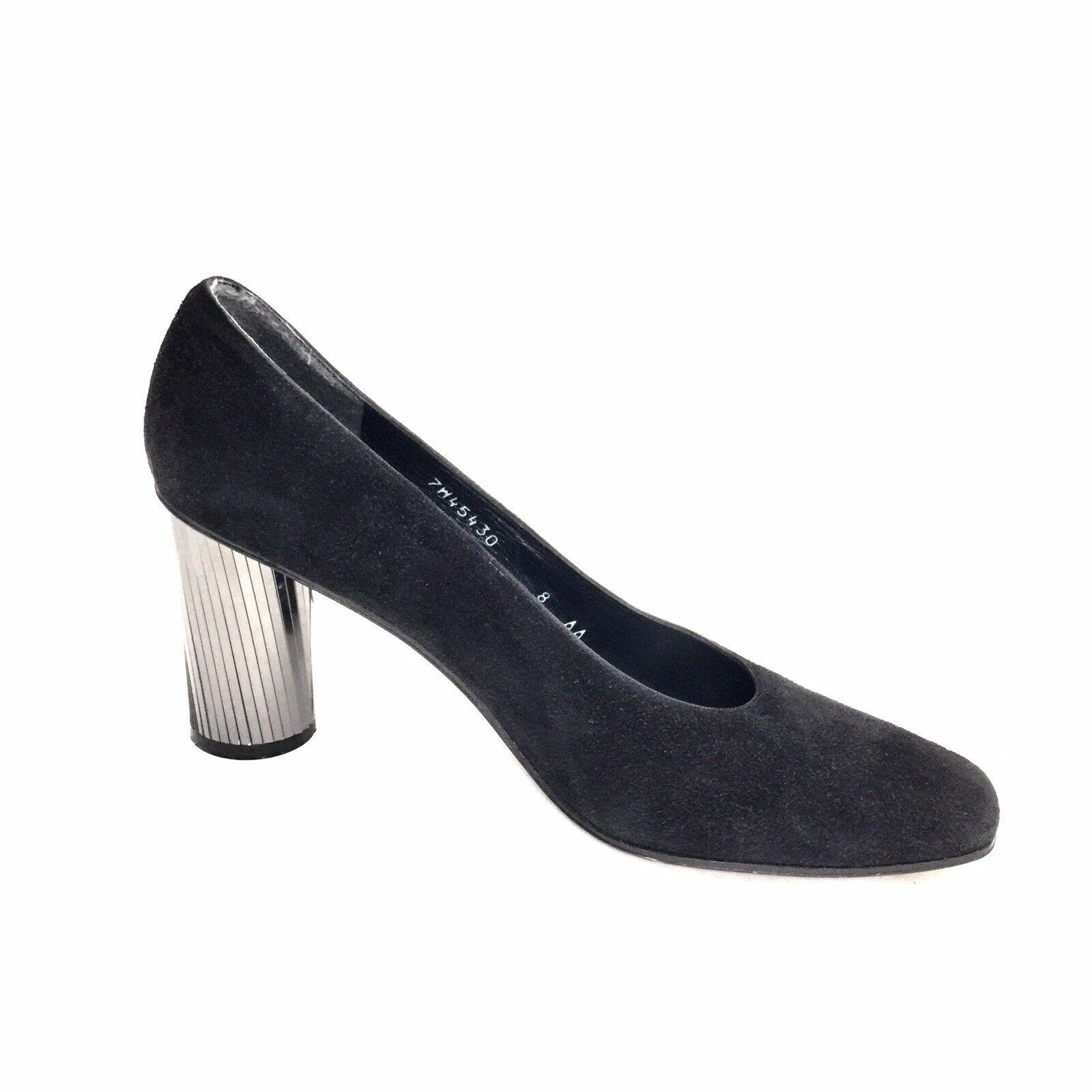 Women's Stuart Weitzman Black Suede Mirrored Cylindrical Heels Size 8 AA