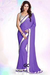 Medium Purple Bollywood Chiffon Plain Silver Border Party Wear Saree Sari Drape