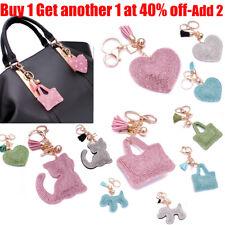 Lady Women 700+ Crystals Cat Heart Bag Handbag Charm Keyring Keychain For Women