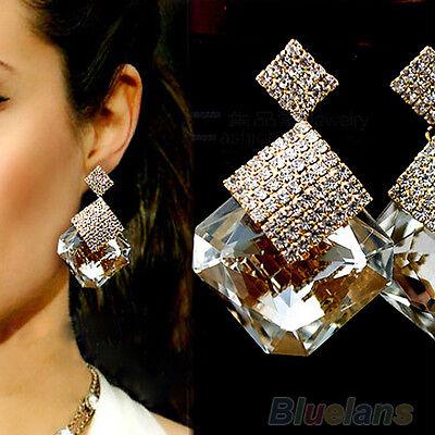 Vogue Lady's Big Square Stone Crystal Drop Dangle Studs Cute Shiny Earrings BFCU