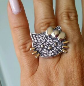 Kitty-Silver-Ring-Sterling-with-9K-Gold-size-K-13-grams