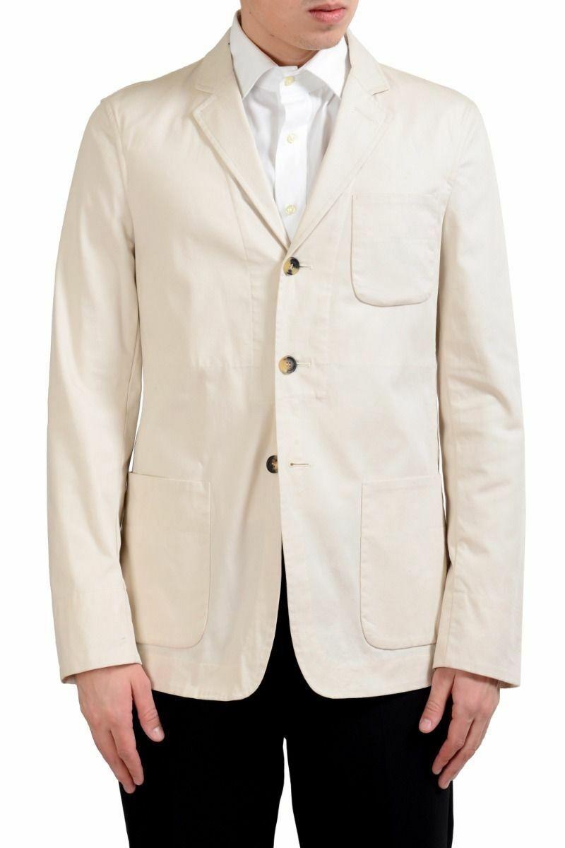 Malo Men's Off White Stretch Three Button Blazer Sport Coat Size 38 40 42 44 46