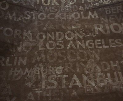 "Vinyl Faux Leather Brown World City Names and symbols upholstery fabric 56"" wide"