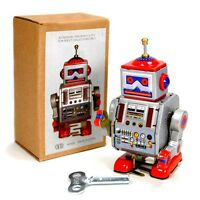 Tin Toy Robot 4 Wind Up Retro Vintage Style Silver Metal Space Collectable