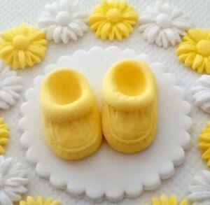 Pretty Yellow White Baby Bootee Daisy Edible Sugar Cake