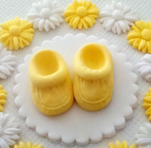 Yellow white baby bootee set Edible Sugar paste cake topper Baby shower Birthday