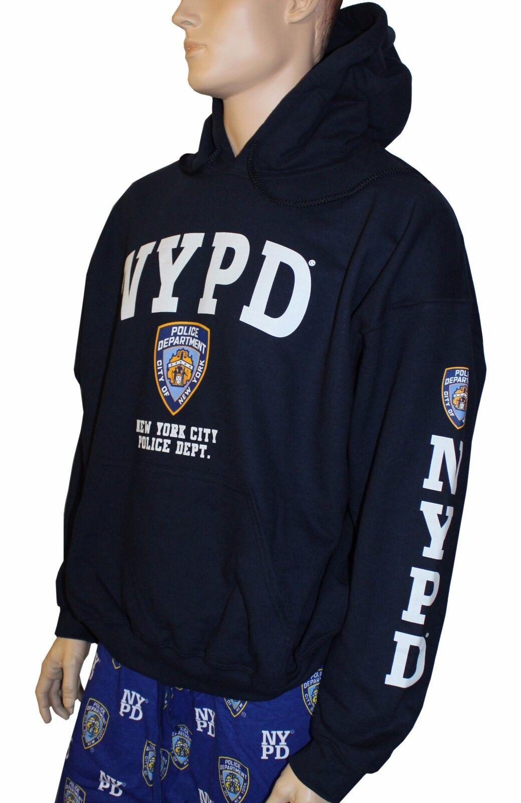 NYPD NAVY NEW YORK POLICE DEPARTMENT HOODIE Weiß LOGO SLEEVE COPS MEN UNISEX
